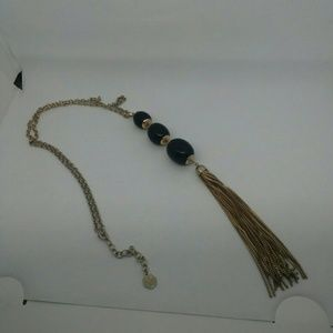 Graziano Gold-Tone and Black Long Drop Necklace